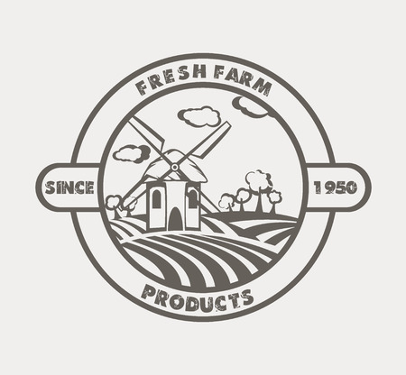 ecological: Eco  Farm badge design. Natural Organic food concept icon.
