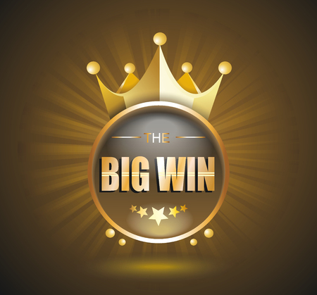 roulette online: Big Win gold sign for online casino, poker, roulette, slot machines, card games. Vector design template. Illustration