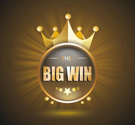 tragamonedas: Gran cartel de oro de victorias para el casino en línea, poker, ruleta, máquinas tragamonedas, juegos de cartas. vector plantilla de diseño.