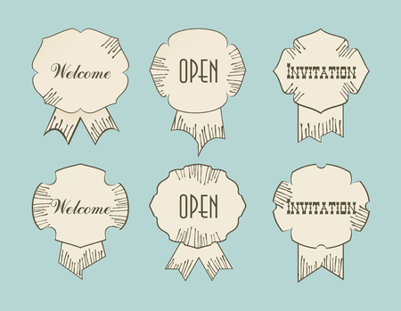 open type font: Vintage retro tags with Open Welcom Invitation words, typography design drawing signs.
