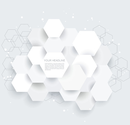 hexagone: Vector Abstract geometric shape from gray hexagones Illustration