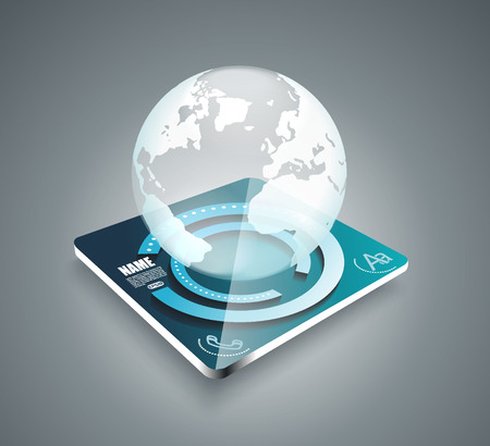 3d business abstract background - glass globe on smart panel - vector illustration