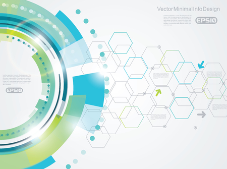 Vector elements for infographic. Template for diagram, graph, presentation and chart on abstract technology background with hexagons. Vettoriali