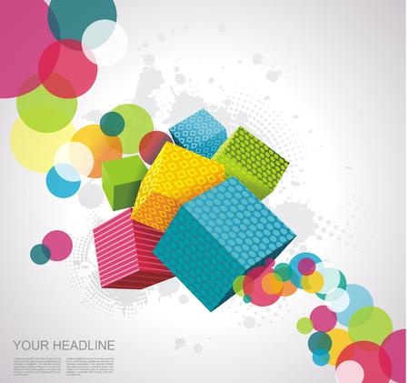 Resumen de antecedentes con cubos. Diseño del vector 3D.