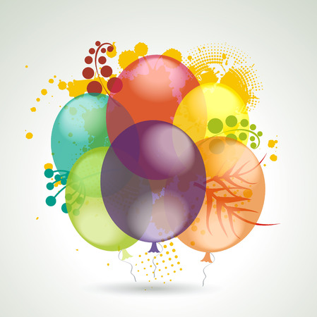 middle air: 3d Vector Realistic Balloons Flying with Plants for Party and Celebrations.