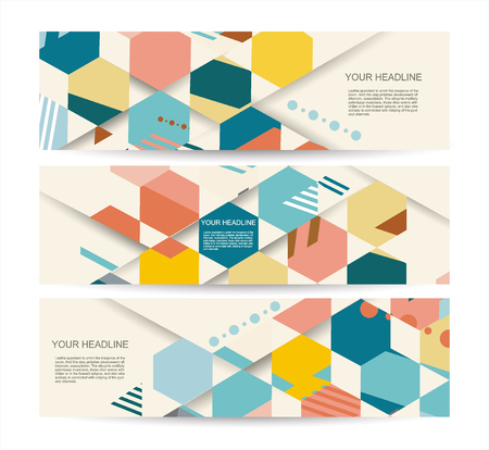Vector banners with abstract vintage polygonal hexagon background. Geometric pattern.
