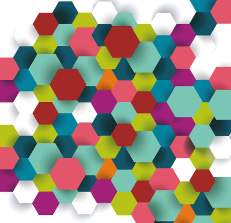 Abstract technology communication design with hexagons.