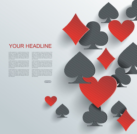 Abstract background with playing cards signs, vector illustration. Illustration