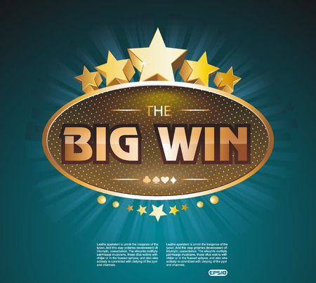 slot machines: Big Win gold sign for online casino, poker, roulette, slot machines, card games. Vector design template. Illustration