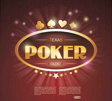 Vector illustration on a Casino theme with Poker Red Neon Sign. Illustration