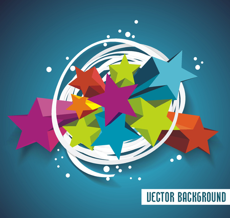 funky: Abstract background with stars and ribbon. 3D Vector Design.