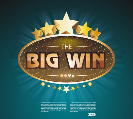 online roulette: Big Win gold sign for online casino, poker, roulette, slot machines, card games. Vector design template. Illustration
