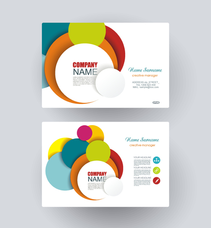 echo: Business cards with bright circles design. Vector Template layout.