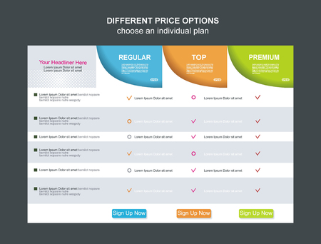 pricing: Price list widget with 3 payment plans for online services, pricing table for websites and applications.