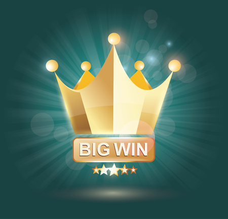 crown: Big Win gold sign for online casino, poker, roulette, slot machines, card games. Vector design template. Illustration