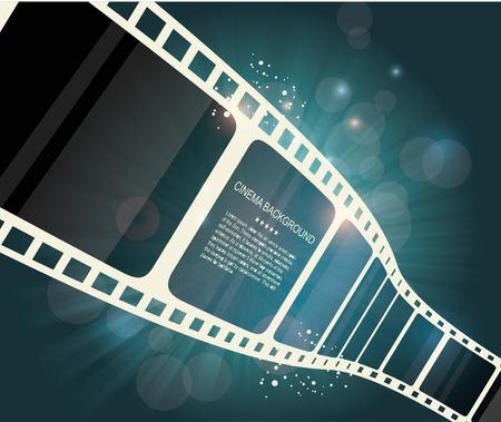 movie poster: Film strip roll. Vector cinema background.