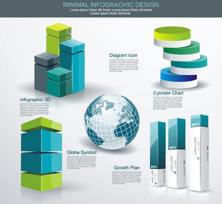 grafica de barras: Conjunto de infografías modernas. Diagrama y diseño de línea de tiempo. Vector