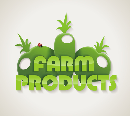 customizable: Eco Green Farm design. Natural Organic food concept icon. Illustration