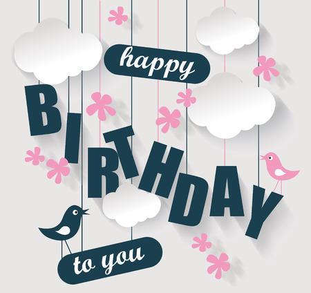 Happy birthday card with clouds and birds. Vector holiday illustration.