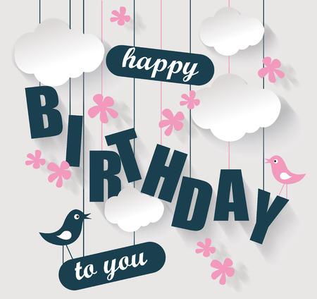 Tarjeta del feliz cumpleaños con las nubes y pájaros. De vacaciones vector de ilustración. Ilustración de vector