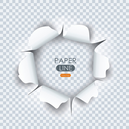 Paper sheet with torn edges paper and ragged hole for your design. Vector illustration. Stock Illustratie