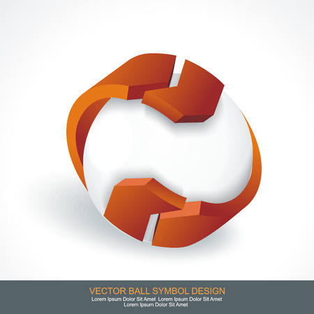 arrows circle: White Sphere with Orange Arrows, 3d design. Vector symbol.