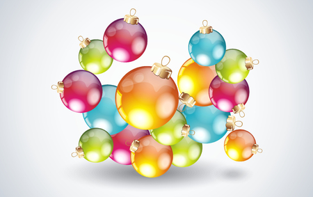spreading: Spreading  a heap of colorful Christmas balls. Illustration