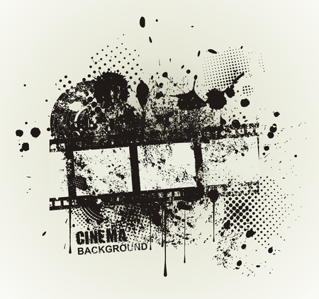 inky: Template grunge cinema poster. Grunge banner with an inky dribble strip and copy space.