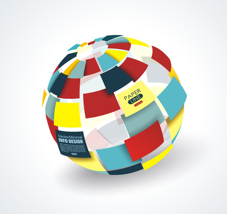 Colorful 3d paper ball broken into pieces, globe sphere business graphic.