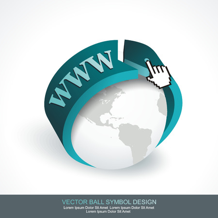 webhost: Business concept design with grey globe and blue arrow. Vector globe icon of the world.