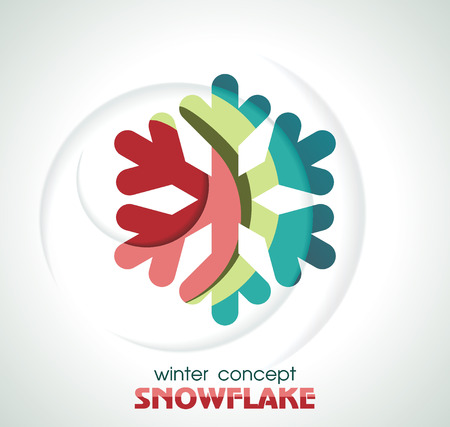 pine boughs: Shiny 3d Snowflake Icon, vector illustration.
