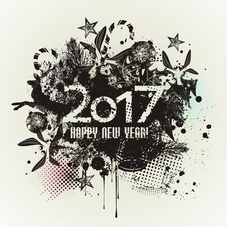 Schablonenschmutz Guten Rutsch ins Neue Jahr 2017 Design mit Tinte spritzt. Schmutzfahne mit einem inky Getröpfelstreifen und einem Exemplarplatz. Vektorgrafik