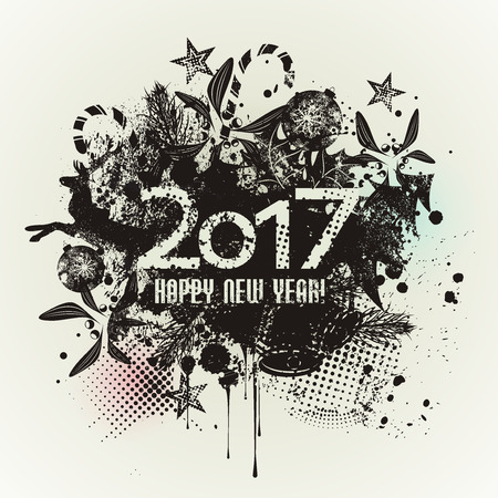 Template grunge Happy new year 2017 Design with  ink splashes. Grunge banner with an inky dribble strip and copy space.