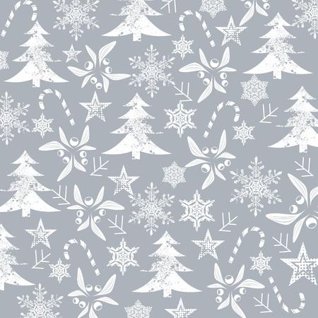 灰色の背景にクリスマス パターン、白いシルエット
