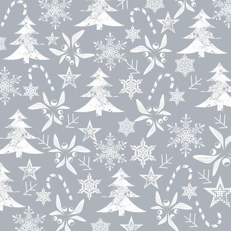 Christmas  pattern, white silhouettes on a grey background