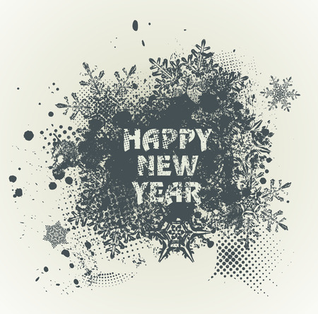 strip design: Template grunge Happy new year 2017  Design with snowflakes and ink splashes. Grunge with an inky dribble strip and copy space. Illustration