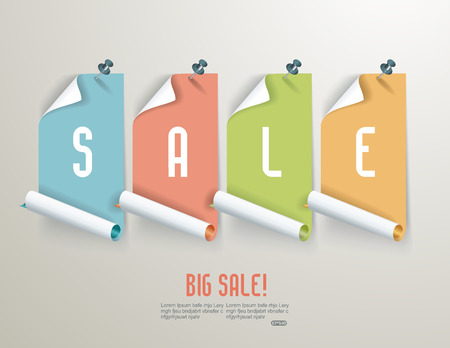 Set of red paper sale stickers on white background.