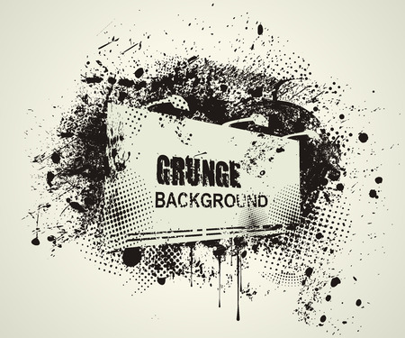 inky: Street blank billboard with an inky dribble strip and copy space.Grunge background.