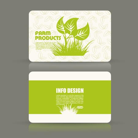 Card set eco design, organic foods shop or vegan cafe business card with green foliage. Illustration