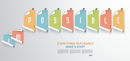 achievable: Stickers with sign saying - Everything is Possible - conceptual of successfully overcoming problems and challenges and positive attitude.