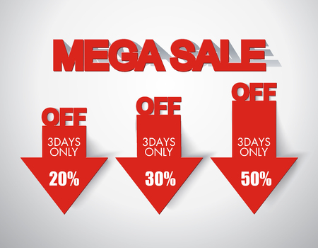 red arrows: Mega sale design with red discount arrows.
