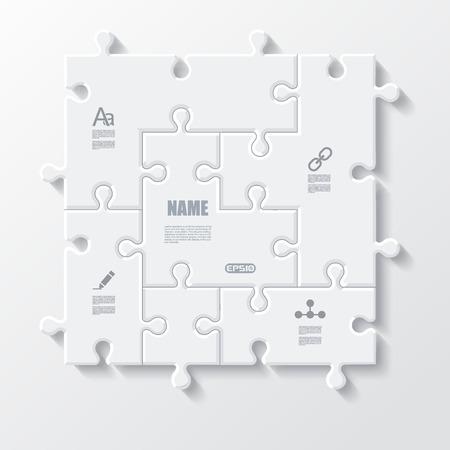 Conjunto de rompecabezas piezas negocio infografía concepto, ilustración.