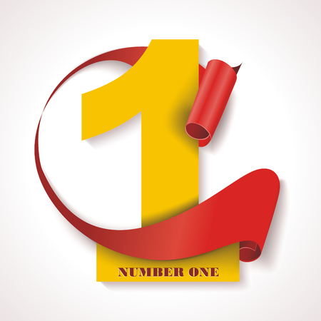 Number one, yellow numeric with red rolled ribbon.