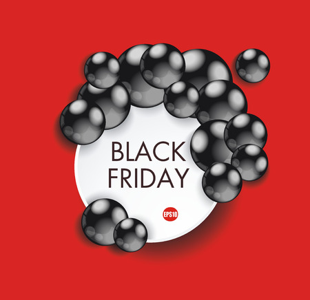 advertising signs: Black Friday sign design with paper banner and black balls. Illustration