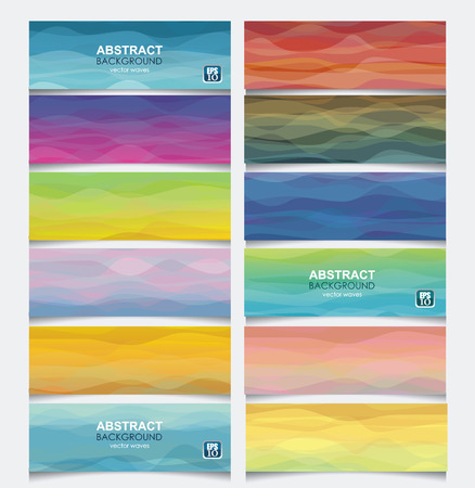 bstract: Vector set of horisontal banners with bstract wave background from different clolrs and tones.