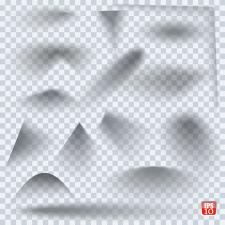 edges: Set of transparent realistic paper shadow effects on blank sheet of paper. Elements  for your design. Illustration