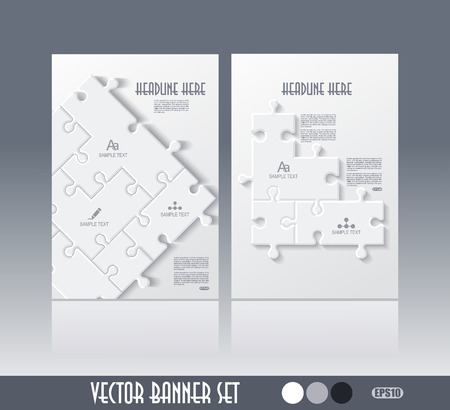Cover design for brochure, flyer, book, annual report template with puzzle pieces jigsaw concept, vector illustration.