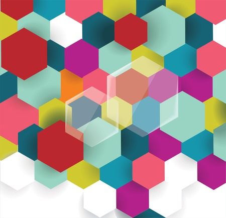 Abstract technology communication design with hexagons, vector illustration.