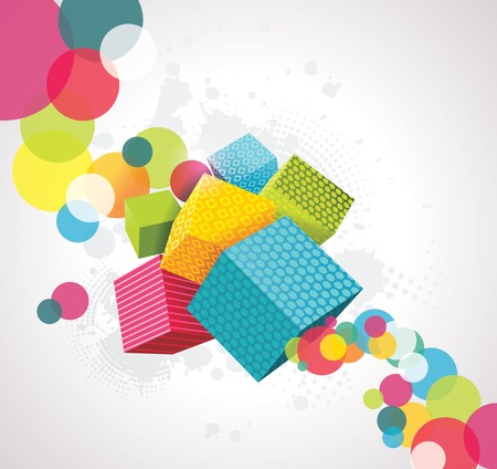 kids birthday party: Abstract background with cubes. 3D Vector Design.