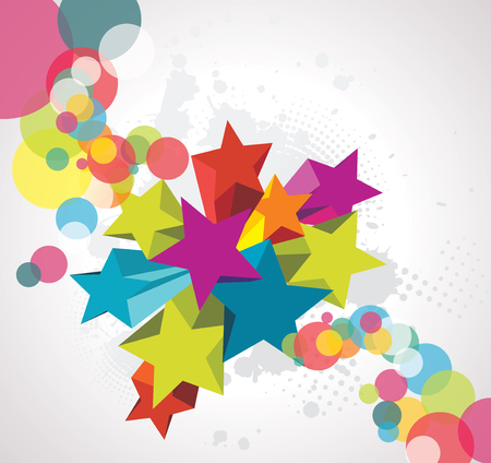 kids birthday party: Abstract background with stars. 3D Vector Design.